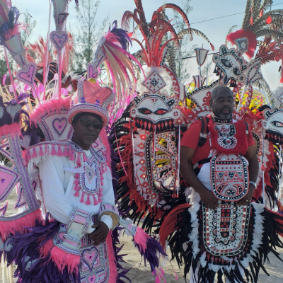 traditional junkanoo costumes with bright colors and feathers
